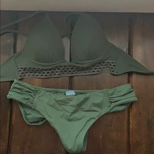 army green bathing suit set